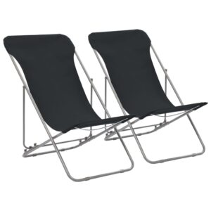 Cadeiras de praia dobráveis 2 pcs aço e tecido oxford preto - PORTES GRÁTIS