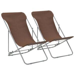 Cadeiras de praia dobráveis 2 pcs aço e tecido oxford castanho - PORTES GRÁTIS