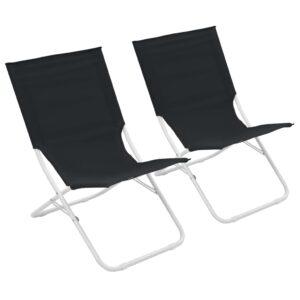Cadeiras de praia dobráveis 2 pcs preto - PORTES GRÁTIS