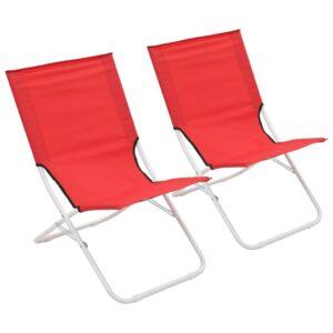 Cadeiras de praia dobráveis 2 pcs vermelho - PORTES GRÁTIS