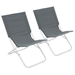 Cadeiras de praia dobráveis 2 pcs cinzento - PORTES GRÁTIS