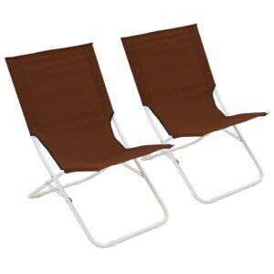 Cadeiras de praia dobráveis 2 pcs castanho - PORTES GRÁTIS