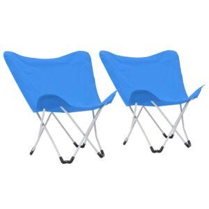 Cadeiras de campismo borboleta dobráveis 2 pcs azul - PORTES GRÁTIS