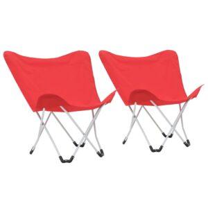 Cadeiras de campismo borboleta dobráveis 2 pcs vermelho - PORTES GRÁTIS