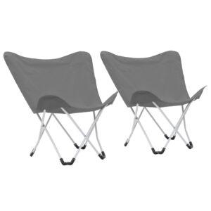 Cadeiras de campismo borboleta dobráveis 2 pcs cinzento - PORTES GRÁTIS