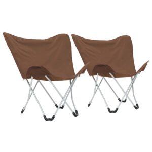 Cadeiras de campismo borboleta dobráveis 2 pcs castanho - PORTES GRÁTIS