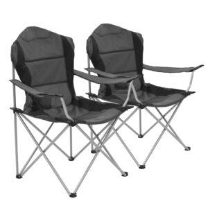 Cadeiras de campismo dobráveis 2 pcs 96x60x102 cm cinzento - PORTES GRÁTIS