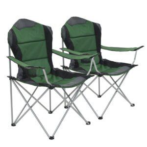 Cadeiras de campismo dobráveis 2 pcs 96x60x102 cm verde - PORTES GRÁTIS