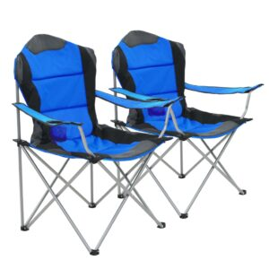 Cadeiras de campismo dobráveis 2 pcs 96x60x102 cm azul - PORTES GRÁTIS