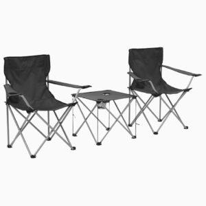 Conjunto mesa e cadeiras campismo 3 pcs cinzento - PORTES GRÁTIS