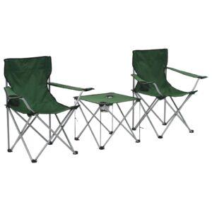 Conjunto mesa e cadeiras campismo 3 pcs verde - PORTES GRÁTIS