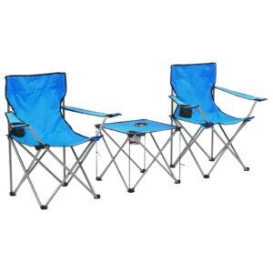 Conjunto mesa e cadeiras campismo 3 pcs azul - PORTES GRÁTIS