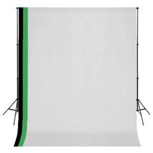Kit estúdio fotografia 3 fundos algodão, moldura ajustável 3x3m - PORTES GRÁTIS