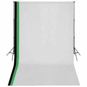 Kit estúdio fotografia 3 fundos algodão, moldura ajustável 3x5m - PORTES GRÁTIS