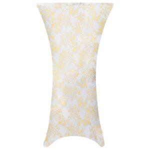 2 pcs capas extensíveis p/ mesa 60 cm branco com padrão dourado - PORTES GRÁTIS