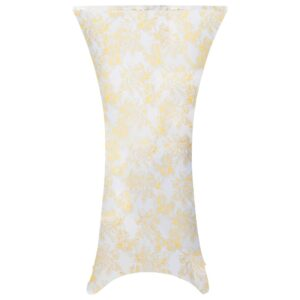2 pcs capas extensíveis p/ mesa 70 cm branco com padrão dourado - PORTES GRÁTIS