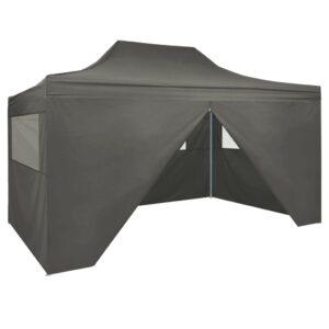 Tenda pop-up dobrável com 4 paredes laterais 3x4,5 m antracite - PORTES GRÁTIS