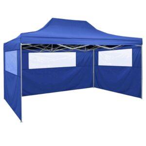 Tenda dobrável com 3 paredes 3x4,5 m azul - PORTES GRÁTIS