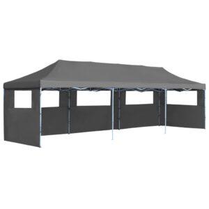 Tenda para festas pop-up dobrável c/ 5 paredes 3x9 m antracite - PORTES GRÁTIS