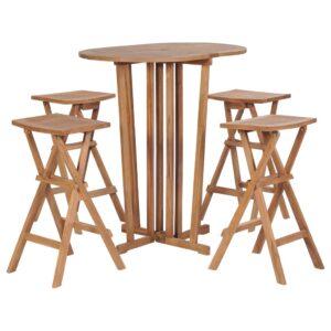 5 pcs conjunto de bar dobrável madeira de teca maciça - PORTES GRÁTIS