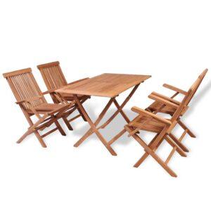 5 pcs conjunto de jantar p/ jardim madeira de teca maciça - PORTES GRÁTIS