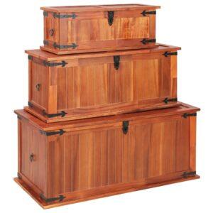 Arcas de arrumação 3 pcs madeira de acácia maciça - PORTES GRÁTIS