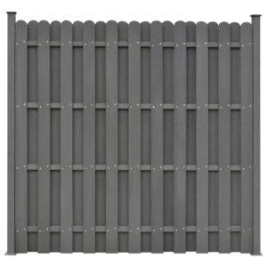 Painel de vedação c/ 2 postes 180x180 cm WPC cinzento - PORTES GRÁTIS