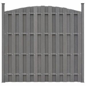 Painel vedação c/ 2 postes 180x(165-180)cm WPC cinzento - PORTES GRÁTIS