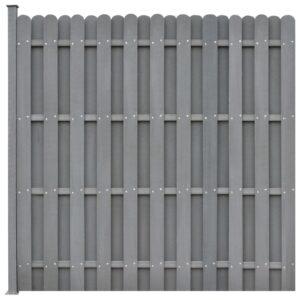 Painel de vedação c/ 1 poste 180x180 cm WPC cinzento - PORTES GRÁTIS
