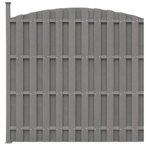 Painel vedação c/ 1 poste 180x(165-180)cm WPC cinzento - PORTES GRÁTIS