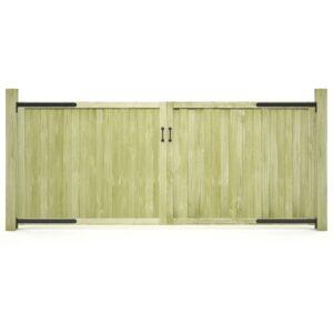 Portões de jardim 2 pcs pinho impregnado FSC 300x125 cm  - PORTES GRÁTIS