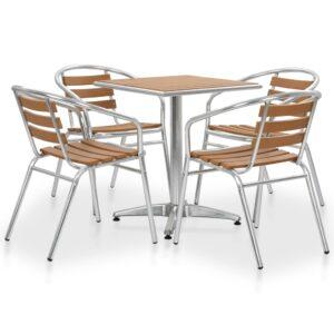 5 pcs conjunto de jantar para exterior alumínio e WPC prateado - PORTES GRÁTIS
