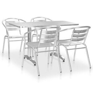 5 pcs conjunto de jantar para exterior alumínio prateado  - PORTES GRÁTIS