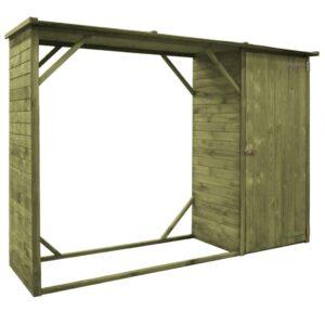Abrigo para arrumação lenha/ferramentas pinho FSC 253x80x170 cm - PORTES GRÁTIS