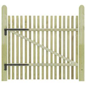Portão de jardim em estacas pinho impregnado FSC 100x100 cm  - PORTES GRÁTIS