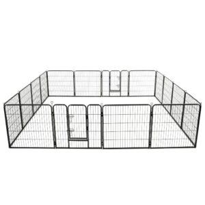 Parque para cães 16 painéis aço 80x80 cm preto - PORTES GRÁTIS