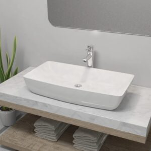 Lavatório com torneira misturadora cerâmica retangular branco - PORTES GRÁTIS