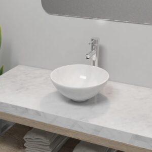 Lavatório com torneira misturadora cerâmica redondo branco - PORTES GRÁTIS