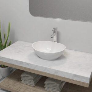 Lavatório com torneira misturadora cerâmica oval branco - PORTES GRÁTIS