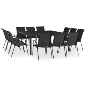 13 pcs conjunto de jantar para exterior aço preto - PORTES GRÁTIS