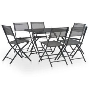 7pcs conjunto jantar dobrável exterior aço e textilene cinzento - PORTES GRÁTIS