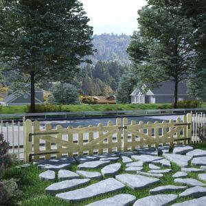 Portão de jardim 2 pcs pinho impregnado FSC 150x60 cm  - PORTES GRÁTIS