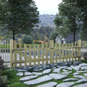 Portão de jardim 2 pcs pinho impregnado FSC 150x100 cm  - PORTES GRÁTIS