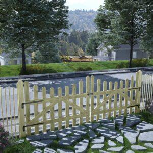 Portão de jardim 2 pcs pinho impregnado FSC 150x120 cm  - PORTES GRÁTIS