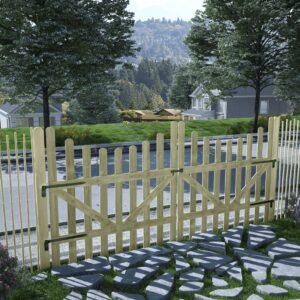 Portão de jardim 2 pcs pinho impregnado FSC 150x150 cm  - PORTES GRÁTIS