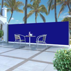 Toldo lateral retrátil 160 x 500 cm azul - PORTES GRÁTIS