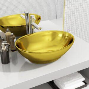 Lavatório 40x33x13,5 cm cerâmica dourado - PORTES GRÁTIS