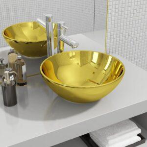 Lavatório 32,5x14 cm cerâmica dourado - PORTES GRÁTIS
