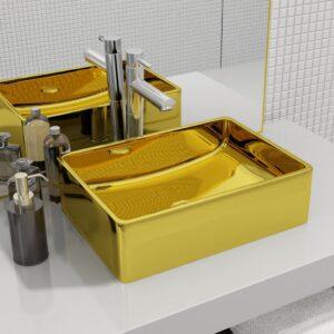 Lavatório 41x30x12 cm cerâmica dourado - PORTES GRÁTIS