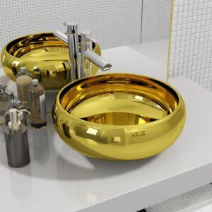 Lavatório 40x15 cm cerâmica dourado - PORTES GRÁTIS